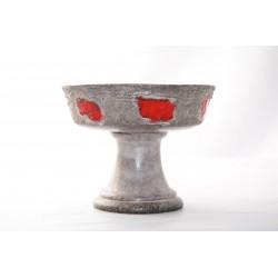 Vaas Strehla keramik grijs rood