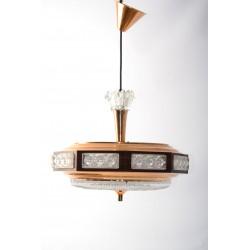Lamp UFO koper en kristalglas retro
