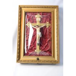 Crucifix speeldoos met bol glas