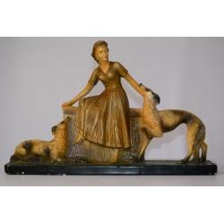 Beeld vrouw met honden Art Deco