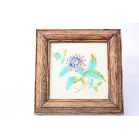 Jugendstil Siertegel met distel en bloem