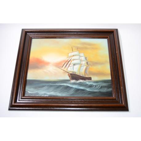 Schilderij van een schip, ongesigneerd